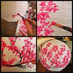 Painted Paper Lanterns Take Plain White Lantern Acrylic Paints In Several Colors Watered