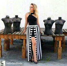 #Saia #listras da #MelonMelon simplesmente linda P&B, #stripes #trends