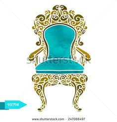 Watercolor vector vintage carved wooden furniture, chair, armchair, throne closeup isolated on a white background.   - stock vector