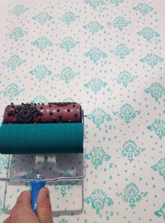 Petite Damask Patterned Paint Roller and Applicator Set from NotWallpaper