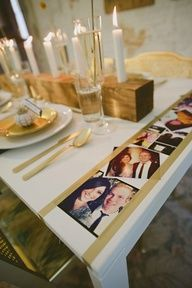 Table edges lined with Instagram pictures and washi tape. Awesome wedding decor idea! downtowntape.com #washiweddingdecor #washitablesetting #washipictures