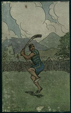 The Hurley Player by Jack B. Finnegans Wake, Jack B, Irish Eyes Are Smiling, Irish Art, Travel Posters, Genealogy, Celtic, Ireland, Illustration Art