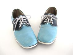 Vintage Bowling Shoes Brunswick Blue Navy Two Tone Saddle Shoe Photo Prop Decor 7 1/2,  8 by BrooklynStVintage on Etsy