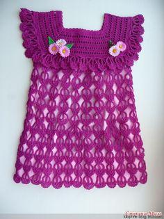 Receita de Crochê Infantil: Vestido de crochê infantil com gráfico