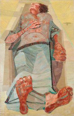 [expressionismo] Candido Portinari, 1954.  O expressionismo é o movimento dos extremos emocionais, das cores fortes e vibrantes, linhas bem definidas, formas e figuras destorcidas que retratavam temas como a alienação, a desigualdade e outras inquietações emocionais. Nessa obra, que retrata a morte de uma mulher, há muito sentimento transmitido através das cores vibrantes, as linhas e borrões pelo corpo e a própria mensagem visual primária por ser uma morta em um caixão.