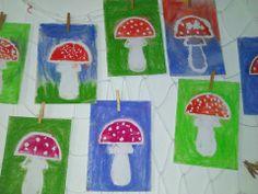 muchomůrky - Klovatina + suché křídy - vymývaná technika School Art Projects, Art School, 2nd Grade Art, Autumn, Fall, Diy And Crafts, Kids Rugs, Zero, Mushroom