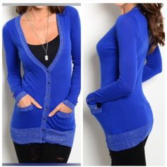 """NEW SASSY BLUE SLIM CARDIGAN This sassy slim fitting knit long sleeve cardigan features a ribbed heather trim with buttoned front closure, slit pocket accent. 100% poly. L27""""B14"""" W11"""" in Small.  S (2) M (2) Allow me to make a listing for you rather than using the bundle feature. No PayPal or trades. No places that begin with M. All sales final.  Sweaters Cardigans"""