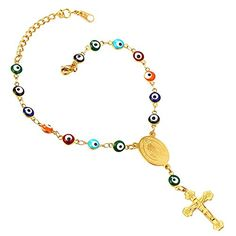 U7 Turkish Evil Eye Bracelet 18K Gold Plated Chain St Benedict Medal and Crucifix Cross Rosary Bracelet. Evil eye chain, protect you against evil,bad things. Crucifix and St Benedict Medal. Metal:18K Gold Plated. Bracelet: 8+2 inches/adjustable. Charm size:2.5 inches. Nickel Free.