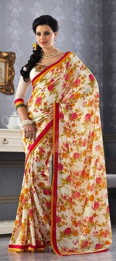 White Floral Saree in Georgette fabric with red and orange border Indian Dresses, Indian Outfits, Indian Sarees, Pakistani, Georgette Fabric, Indian Couture, Bollywood Saree, Floral Fashion, Saree Styles