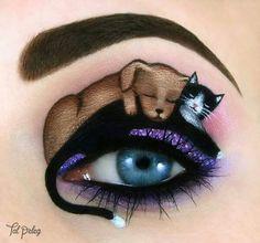 Dog & cat inspired eye makeup! #makeup #cats #dogs