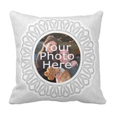 Feminine and delicate lacy design printed on this custom pillow.  White damask background with circle frame detail.  Add your own custom photo to the front and back of this stylish and pretty personalized throw toss pillow cushion.  It's great as a gift or for sharing family snapshots, wedding portraits, pictures of kids, or baby .  Create your own toss pillow from a digital photo upload, it's easy and fun!