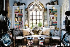 Home library with nook area for a comfortable read.
