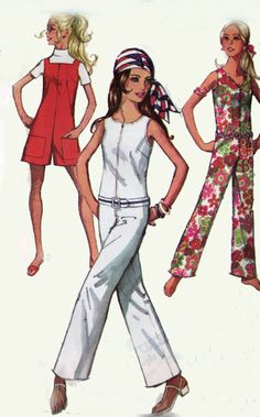 Jumpsuit Romper Playsuit in two lengths and three necklines Simplicity 8198 Vintage Sewing Pattern Retro Size 12 by sandritocat on Etsy Simplicity Sewing Patterns, Vintage Sewing Patterns, Clothing Patterns, Dress Patterns, 70s Fashion, Fashion History, Vintage Fashion, 70s Outfits, Vintage Outfits