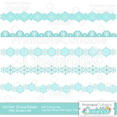 Winter Snowflakes Borders Free SVG Cut Files & Clipart Set - SVG cut files for Silhouette, Cricut cutting machines. Free Snowflake Borders SVG cuts