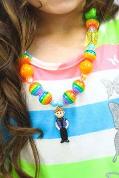 Rainbow Justin Bieber Beaded Necklace - CHILDREN'S Rainbow Chunky Bubblegum Necklace. $20.00, via Etsy.