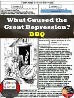 Great Depression-The Causes of the Great Depression DBQ Print & Digital Severe Depression Treatment, Depression Treatment Centers, How To Handle Depression, Great Depression, Primary And Secondary Sources, Teaching Secondary, High School History