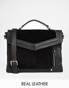 ASOS Leather and Suede Mix Zippy Satchel Bag