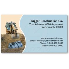 Drainage business card. A photo of a digger installing a septic tank. Available in other colors. Price varies according to size, qty and card stock.