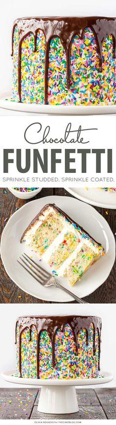 Funfetti Sprinkle Cake with Drippy Chocolate Ganache   by Olivia Bogacki for TheCakeBlog.com