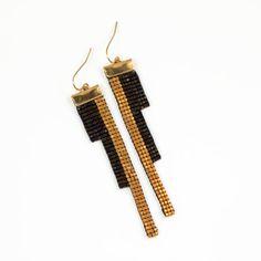 trois rois / / métier à tisser perles Boucles d'oreilles / / brun foncé et or / / original bijoux géométrique
