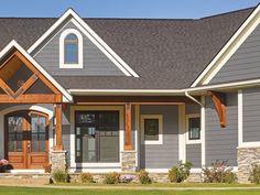 grey exterior house colors 40 Ideas For Exterior Paint Colours For House Gray Stone Vinyl Siding Exterior House Siding, Stone Exterior Houses, Craftsman Exterior, Grey Siding House, Gray Siding, Vinyl House Siding, Best Siding For House, Stone Veneer Exterior, House Exteriors
