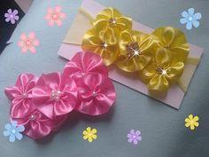 Faixa de Bebê Fácil - YouTube Ribbon Hair Bows, Diy Hair Bows, Diy Ribbon, Ribbon Work, Fabric Ribbon, Felt Flowers, Diy Flowers, Crochet Flowers, Fabric Flowers
