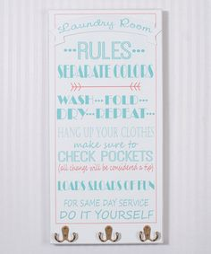 Another great find on #zulily! Blue 'Laundry Room Rules' Wall Hook Sign #zulilyfinds