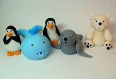 Edible Fondant Arctic/Sea Creatures - Penguins, Whale, Seal, Polar Bear