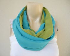 Turquoise and Chartreuse Infinity  Scarf/Circle Scarf /Loop Scarf