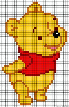 Winnie the Pooh perler bead pattern (maybe transfer to a cross-stitch or rug hoo. Diy Perler Beads, Perler Bead Art, Knitting Charts, Baby Knitting Patterns, Knitting Machine, Free Knitting, Modele Pixel Art, Easy Knitting Projects, Minecraft Pixel Art