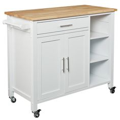 This multi functional, white kitchen cart cultivates your culinary side! The double-door cabinet and open shelf provide abundant storage in this useful is...