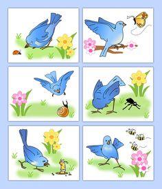Woodland Forest Nursery Animals Wall Art Prints Blue Bird Girl Whimsical Decor #decampstudios