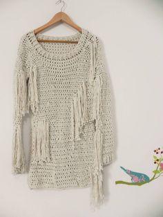 suéter vestido de franjas - vestidos marie castro knitwear