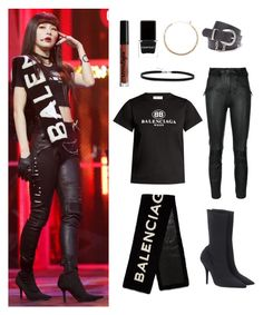 """""""Seulgi """"Bad Boy"""" Similar Style"""" by zsaraissa ❤ liked on Polyvore featuring Unravel, Balenciaga, Yeezy by Kanye West, BillyTheTree, Goddess, New Directions, Context and NYX"""