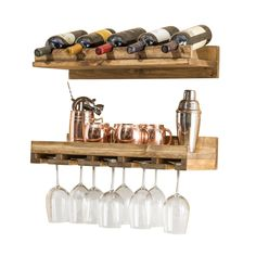 Oconner Wall Mounted Wine Bottle and Glass