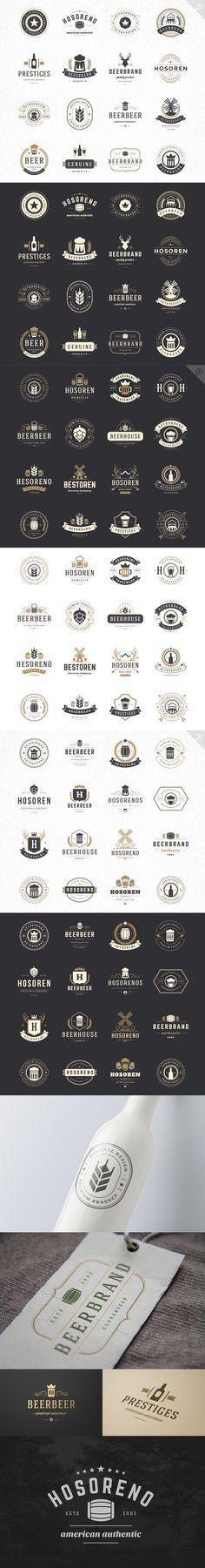 45 Beer brewery Retro Vintage Logotypes set. Vector design elements, business signs, logos, identity, labels, badges, stamps and other #design Download: https://creativemarket.com/VasyaKo/374643-45-Beer-Logotypes-and-Badges?u=nexion