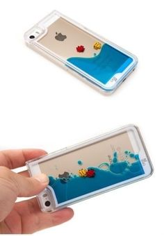 funda acrilico agua pez diseño iphone 5s 6 + film