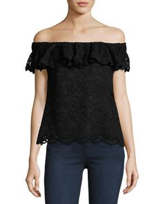 Off-the-Shoulder+Floral+Lace+Top,+Black+by+Rebecca+Taylor+at+Neiman+Marcus.