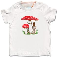Kid's organic Gnome Mushroom shirt, natural cream short sleeve, spring summer woodland design, infant toddler children t-shirt Cream Shorts, Organic Baby Clothes, Raglan Shirts, Festival Outfits, White Long Sleeve, Baby Bodysuit, Kids Shirts, Kids Fashion, Mushroom