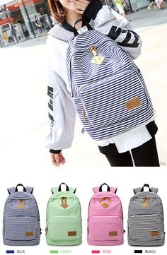 a59c91d63 Summer Blue Striped Leisure Canvas College Backpack which color do you  want? #stripe #