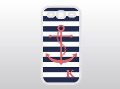 Anchor Samsung Galaxy S3 Case - Nautical Galaxy S3 - Navy Stripes w/ Coral Anchor - Monogrammed Gift