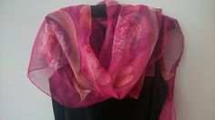 Pink Roses Chiffon Scarf for Ladies. Floral Design by SilkLetters