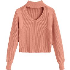 Keyhole Neck Crop Sweater Nude Pink (99 RON) ❤ liked on Polyvore featuring tops, sweaters, shirts, red sweater, keyhole shirt, pink top, cropped shirts and red crop top