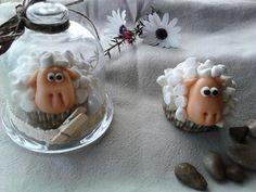 Marshmalows sheep. Cupcakes ovejas.