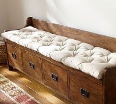 Day # 25 Wade Entryway Bench Cushion #potterybarn is functional and beautiful for an entryway.