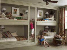 bunkies in basement for overnight guests!  I want to do this when I have grand kids.