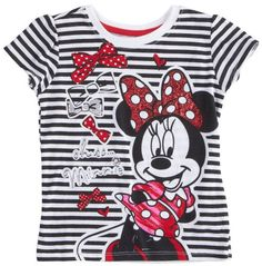 Disney Little Girls Minnie Mouse Bow Short Sleeve TShirt Black 4T ** You can get additional details at the image link.