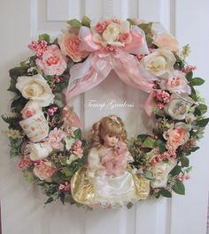 """cottage handmade china doll wall door wreath """"Miss bellina"""" shabby cottage pink roses wall art baby girl roo Shabby Chic Wreath, Shabby Chic Crafts, Diy Holiday Gifts, Diy Gifts, Victorian Crafts, Victorian Christmas, Baby Wall Art, Pink Christmas, Rose Buds"""