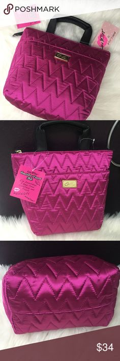 Betsey Johnson Fushia Pink Insulated Lunch Tote Gorgeous silky fushia pink quilted fabric. Insulated interior. NWT Betsey Johnson Lunch Tote Betsey Johnson Bags Totes