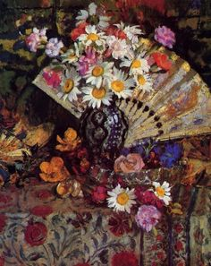 georges lemmen still life with fan painting